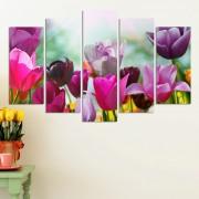Декоративeн панел за стена с лалета в розово-лилава гама Vivid Home