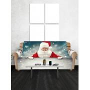 Rosegal Housse de Canapé Motif de Neige et de Père Noël Deux sièges