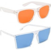 NuVew Wayfarer, Retro Square Sunglasses(Orange, Blue)