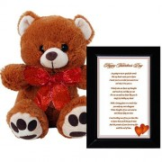 Valentines Day Gift Romantic Valentine Poem In A 4x6 Inch Black Frame And Combined With A Plush 10 Inch Teddy Bear