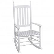 vidaXL Fotel bujany z wygiętym siedziskiem, biały, drewniany