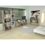 Combo TuHome Rack Extensible + Biblioteca + Arrimo - Rovere
