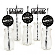 Happy Retirement - Paper Straw Decor - Retirement Party Striped Decorative Straws - Set of 24