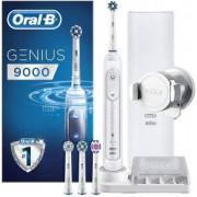 Електрическа четка за зъби Oral-B, Genius 9000 CrossAction, Bluetooth, 4 глави, Бяла