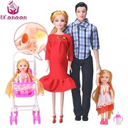 Family 5 People Dolls Suits 1 Mom /1 Dad /2 Little Kelly Girl /1 Baby Son/1 Baby Carriage Real Pregnant Doll s
