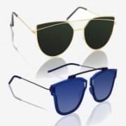 Knotyy Cat-eye, Retro Square Sunglasses(Green, Blue)