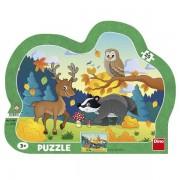 Puzzle Dino pe Placa Animale din Padure- 25 piese