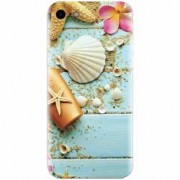 Husa silicon pentru Apple Iphone 5 / 5S / SE Blue Wood Seashells Sea Star