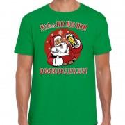 Bellatio Decorations Fout Kerst shirt bier drinkende santa ho ho ho groen voor heren