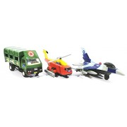 3 Combo Army Kit - Truck, Rescue helicopter, F16 Fire blade toys (Green Red Blue)
