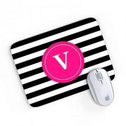 Mouse Pad Monograma Rosa Listrado Preto Inicial V 24x20