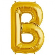 De-Ultimate 16 Inch Alphabet (B) Soild (Golden) Color 3D Foil Balloons For Birthday And Anniversary Parties Decoration