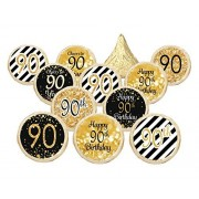 90th Birthday Party Decorations - Gold & Black - Stickers for Hershey Kisses (Set of 324)