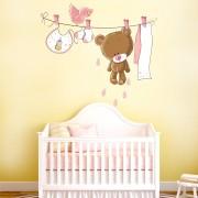 Stickere perete copii Pink Teddy - 142 x 100 cm