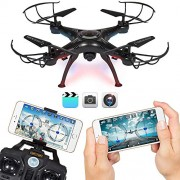 Srmaji Vision Drone Quadcopter With Wifi Camera, 4CH 2.4GHz Remote Control, Live Video and Real-time Streaming FPV, WiFi Camera Quadcopter, 6 Axis Gyro Drone Quadcopter, 3D Flips n Rolls(360 Degree Flip), Headless Mode Drone, Drone With Camera Can Be Cont