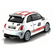Fiat Abarth 500 #49, White - Bburago 28101 - 1/24 scale Diecast Model Toy Car
