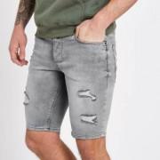 River Island Mens Grey Sid ripped skinny denim shorts