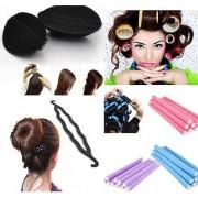 Mahek Combo of Hair Puff + Hair Roller + Hair Donut Maker +10 Foam Rods Hair Curler Rollers