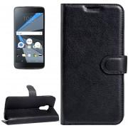 Para BlackBerry Dtek60 Litchi Texture Horizontal Flip Funda De Cuero Con Hebilla Magnetica Y Titular Y Ranuras Para Tarjetas Y Cartera (negro)