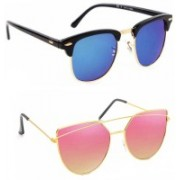 Elgator Over-sized Sunglasses(Blue, Pink)