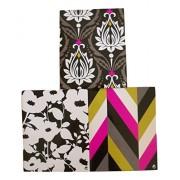 Carolina Pad Studio C 3 Folder Set ~ Fashionista (White Flower Buds, White Flowers on Black, Multicolored Chevrons)