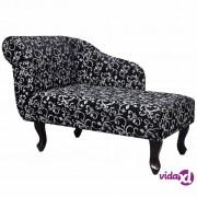 vidaXL Ležaj sa cvjetnim uzorkom od tkanine crno-bijeli