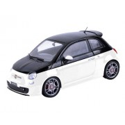 Motormax Fiat Abarth 500 White/Black 1/18 Diecast Car Model By