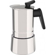 pedrini 02cf039 Macchinetta Caffé Moka 10 Tazze Steel Moka Acciaio Inox 18/10 Fondo Per Induzione 02cf039