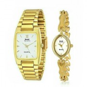 HWT Rectangle White Dail Golden Metal Couple Watches Combo