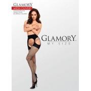 Plus size nätstrumpbyxa i strumpebandshållarlook Mesh Ouvert från Glamory black 3XL