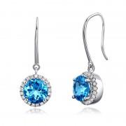 Cercei Borealy Aur Alb 14 K Topaz Albastru Swiss Natural 1 55 ct 42 Diamante