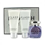 Flash Coffret: Eau De Parfum Spray 100ml/3.3oz + Body Lotion 100ml/3.3oz + Shower Gel 100ml/3.3oz 3pcs Flash Комплект: Парфțм Спрей 100мл + Лосион за Тяло 100мл + Душ Гел 100мл