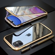 LUPHIE Magnetic Metal Frame Tempered Glass Phone Cover for Apple iPhone 11 6.1 inch - Gold
