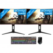 2x AOC C24G1 + Trust GXT865 gaming toetsenbord QWERTY + Corsair Harpoon RGB gaming muis