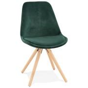 Vintage 'RICKY' stoel in groen fluweel met poten in natuurlijk hout