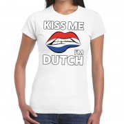 Bellatio Decorations Kiss me I am Dutch t-shirt wit dames