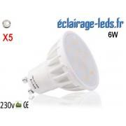 Lot de 5 ampoules led GU10 6W Blanc Naturel 500lm Équiv 50W 120° ref gu10-05