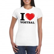 Bellatio Decorations I love voetbal t-shirt wit dames XS - Feestshirts