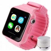 Smartwatch cu GPS Copii si Seniori iUni V8K Pedometru Touchscreen 1.54 inch BT Notificari Camera Pink + Boxa Cadou Bonus Bratara Roca Vulcanica unisex
