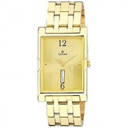 Titan Quartz Gold Rectangle Men Watch 1641YM02