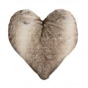 Hartvormig Kussen Imitatiebont Wolf Winter Grijs (45 x 45 cm)