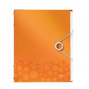 Mapa cu separatoare LEITZ Wow, PP, 6 separatoare - portocaliu metalizat