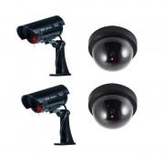 Merkloos Dummy beveiligingscamera set 4 stuks zwart - Dummy beveiligingscamera