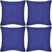 vidaXL 4 Blue Cushion Covers Cotton 80 x cm