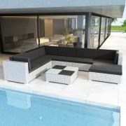 vidaXL Комплект градински мебели от бял изкуствен ратан, общо 24 части
