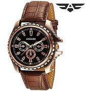 IDIVAS 103 Round Dial CPR-98 Brown Leather Strap Quartz Watch For Men
