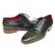 Paul Parkman Wingtip Leather Oxford Floater Shoes Green 023-GREEN