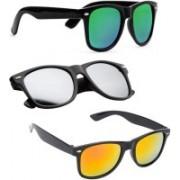 KINGSUNGLASSES Wayfarer Sunglasses(Yellow, Silver, Green)