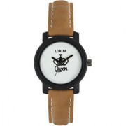 The Shopoholic Analog Round White Dial With Brown Leather Belt Watches For Women-Watches For Girls 6 month warranty