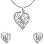 Mahi Crystal Heart Rhodium Plated Pendant Set for Women NL1102722R